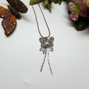 "Jewelry - Vintage Butterfly Sparkling Gem Beads 9"" Necklace"